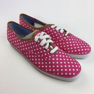 Keds NEW Shoe Polka dot Pink White Lace-up 9 1/2 M